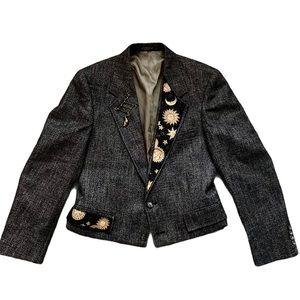 Unique Evan Picone Tweed Blazer w celestial accent